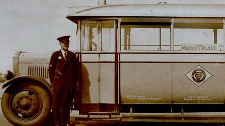THE DAY JOB! Great Yarmouth Corporation bus driver Arthur Bishop (left) was the original Peggotty co