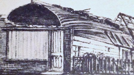 PEGGOTTY'S HUT MARK 1: looking fire-ravaged at an unidentified location in Great Yarmouth. Picture: