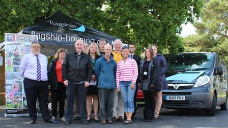 Residents, councillors and staff from Flagship Housing at the opening of a new car parking area in A