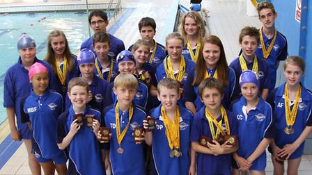 Thetford Dolphins Swimmers who took part in the Norfolk County Challenge across two weekends in Dere