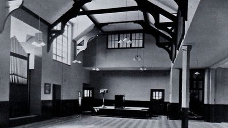 """PLACE OF RECORD: Great Yarmouth Grammar School hall in 1936. Honours and """"in memoriam"""" boards were d"""