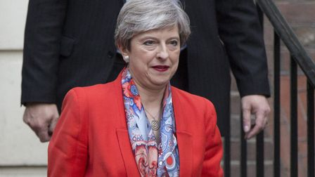 Prime Minister Theresa May leaves Conservative Party HQ in Westminster.