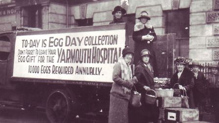 Egg collection day in Great Yarmouth Market Place, 1923