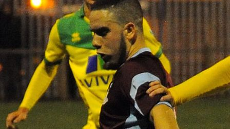 Bruno Tavares was on target for Thetford against Swaffham in the FA Cup. Picture: Denise Bradley