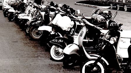 TRANSPORT DEPOT: Mods' scooters parked on the Golden Mile in 1965 or 1966.
