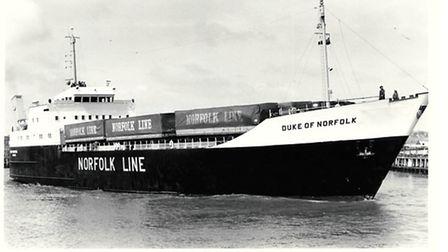 TRAILER TRANSPORT...the roll-on/roll-off ferry Duke of Norfolk, once a familiar sight in her home po
