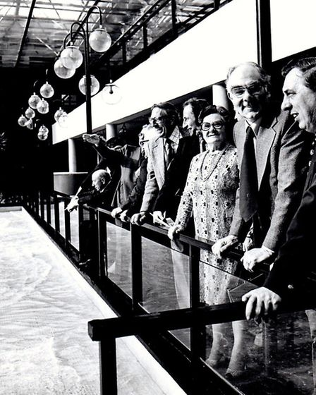 LOOKING TO THE FUTURE: members of a Yarmouth fact-finding party watching ripples wash on to an imita