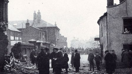 UNWANTED HISTORY: damaged St Peter's Plain property after the bombs fell in 1915, killing two reside