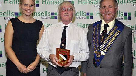 Roger Preston of Central Zone winners Northwold with Hayley Pettitt, left, of sponsors Hansells Soli