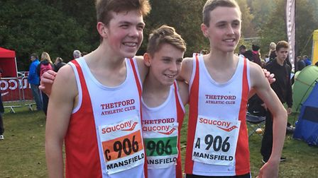 Thetford Athletics Cxlub members Harley Swan, Tom Mead and Aiden Try at the National Cross Country R