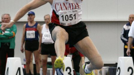 STILL HURDLING: Danny Daniels competing at a veterans' athletes meeting in Canada.Picture: SUBMITTED