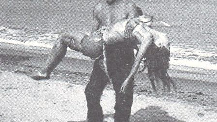 FACT OR FICTION? Screen heroine Flora le Breton is carried from the sea on to Yarmouth beach, but it