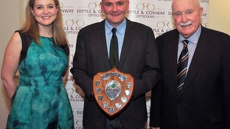 Leading wicketkeeper Andy Dale with Emma Conway, Andy Dale, John Tythcott, vice-chairman Norfolk Cri