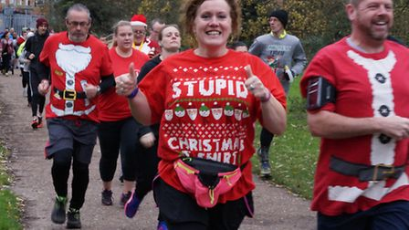 Thetford Parkrun celebrated its 150th run by making the event the 2015 Christmas Jumper Run.