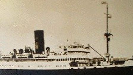 SAILING TO SAFETY: the ex-liner Nova Scotia on which teenager Teddie Davy was evacuated to Canada in