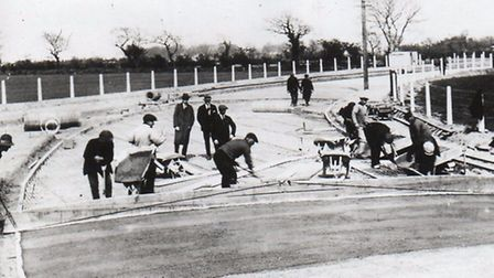 TAKING SHAPE: construction workers building Middleton Road in Gorleston in 1923.