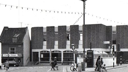 ON LOCATION: Gorleston's Feathers Plain and the public library in 1978 where a scene for a televisio