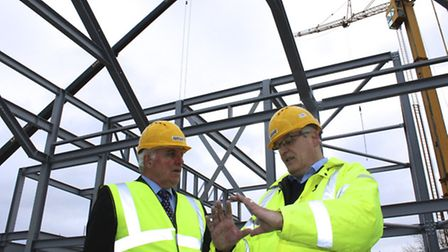Michael Wassell, leader Breckland Council, left, and David Winch from Land Group at the Riverside De