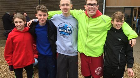Thetford AC athletes at the Anglian Schools Cross Country Championships. They are (from left) Jessic