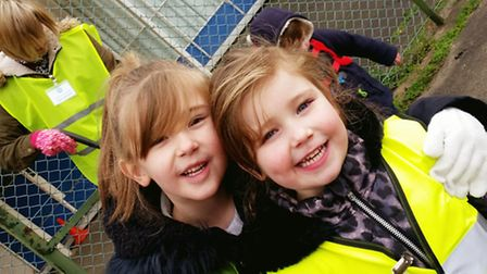Alanna and Skyla Snowdon help out at the Charles Burrell Centre's Clean for the Queen day.