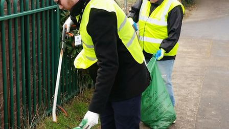 Mark Snowdon and Barbara Bysouth take part in the Charles Burrell Centre's Clean for the Queen day.