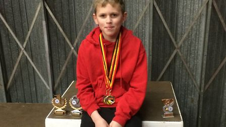 Cameron Try at the Norfolk County Indoor Championships at Lynnsport.