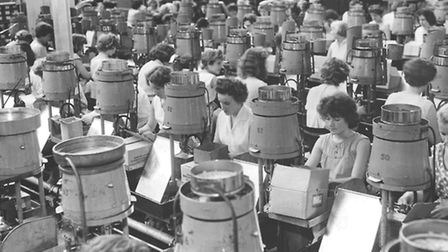 MAINHARD AT WORK: Erie Resistor employees at the Great Yarmouth South Denes plant in August 1959. RE