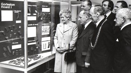 SHOW-CASED: the Gorleston Hoard on display at the opening ceremony of the new public library in 1977