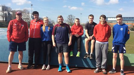 Thetford Athletics Club's final Winter Throws Competition featured, from left, coach Gary Howe, Oliv