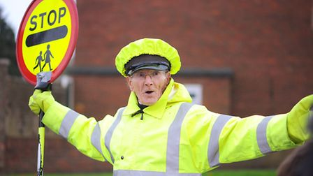 85-year-old lollipop man Stephen Simmons at work.He works on Brasenose Road, Gorleston.Picture: Jame