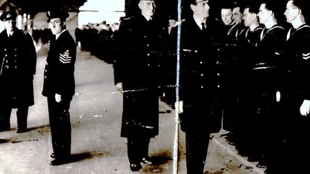 ROYAL VISIT: Royal Navy personnel from HMS Watchful, the wartime shore base in Yarmouth, being inspe