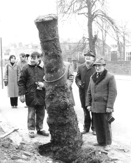 HARD WORK! A cannon barrel is dug up at the armoury site in 1982 by members of Great Yarmouth and Di