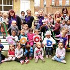 Children and staff at Calthorpe nursery in Great Yarmouth which has received a good Ofsted report.Pi