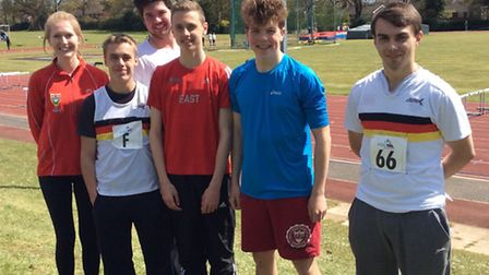 Thetford AC runners who competed in the first round of the UK Youth Development League Southern Prem