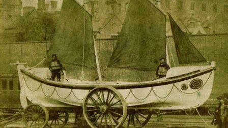 THE GIFT THAT SAVED LIVES...the first Leicester lifeboat on its launch day in 1866. Picture: SUBMITT