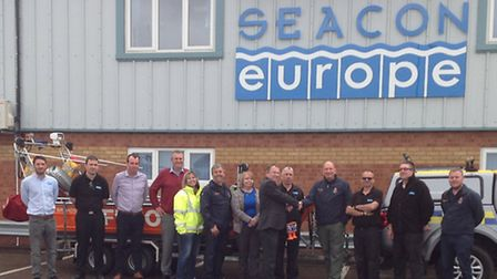 Seacon presentation of cash to Hemsby Lifeboat