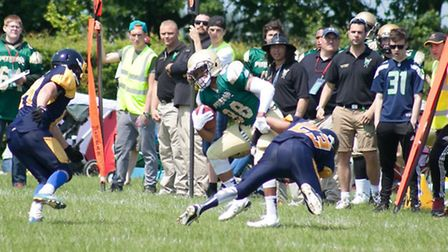 WR Evin Reese breaking tackles for Bury Saints. Picture: William G Watson