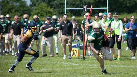 WR Axl Rodwell runs in his first TD of the season for Bury Saints. Picture: William G Watson