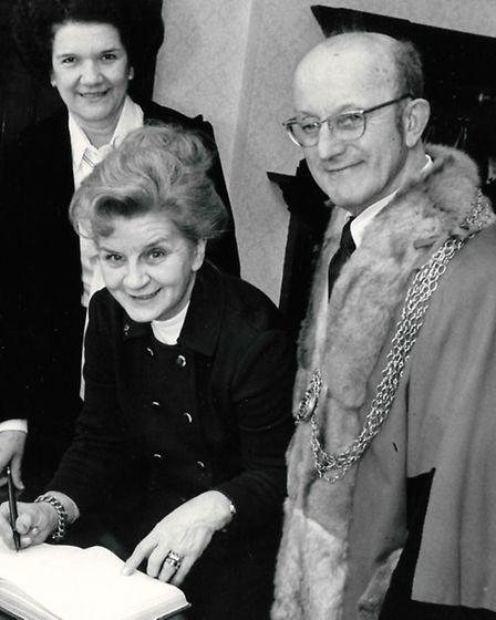 THE YARMOUTH CONNECTION: Mayoress Cora Batley and Mayor Harry Miller look on as Mrs Nora Biron, visi