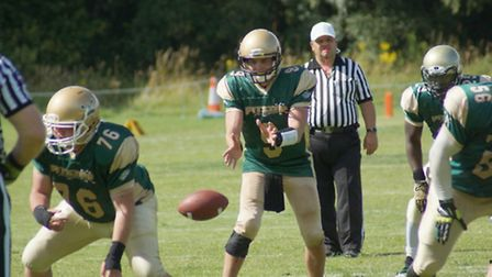 Action from Bury Saints 39-13 win over Colchester Gladiators in Thetford - QB Francis Hughes taking