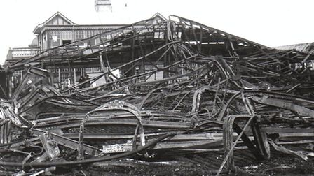 The Britannia Pier buildings wrecked in a 1932 fire. Picture: PETER ALLARD COLLECTION