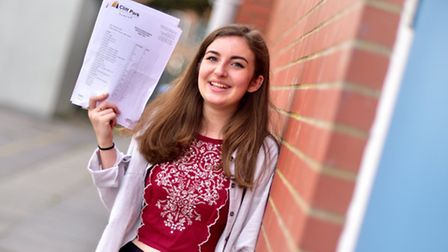 Students at Cliff Park Ormiston Academy collect their GCSE results. Jodie Donovan.Picture: ANTONY KE