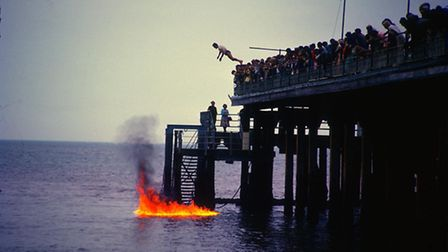 Rex Reed the fire diver at Britannia Pier in the mid-1960s. Photo: George Woolford