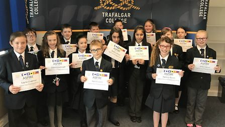 Students at Trafalgar College in Great Yarmouth at their first awards assembly.