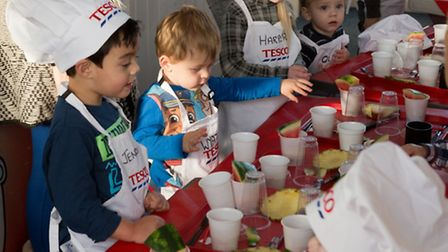 Children taking part in the Healthy Eating Workshop at The Priory Centre in Great Yarmouth.