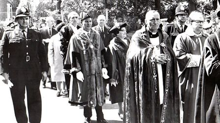 Civic duties: Sgt John Calthorpe (left) and a colleague escorting 1969 mayor John Malley and his may