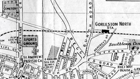 Gorleston North railway station, shown on this pre-1938 pictorial street plan.