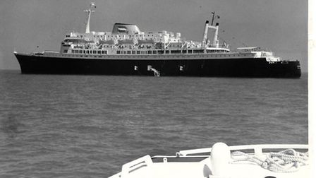 The cruise liner Veendam anchored in Yarmouth Roads in 1973.
