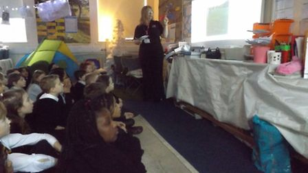 Angie Cotton of Great Yamrouth Borough Services visits St Nicholas Priory School. Picture: Tracey Wa