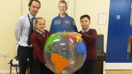 Graham Colman with Ludham Primary School and Nursery Pupils Lily and Jenson. Picture: Heather Delf